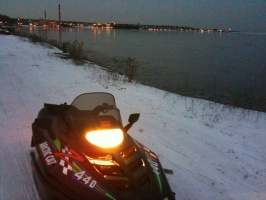 02/02/10 - Snowmobiling along Lake Superior near Marquette, MI