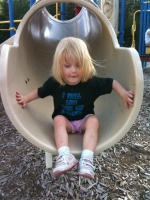 Kaitlyn coming down the slide