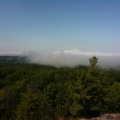 Fog on Lake Superior near Marquette in July 2009