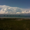 Thunderstorms over Mackinac Bridge