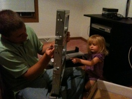 Kaitlyn and Daddy Working on a Project