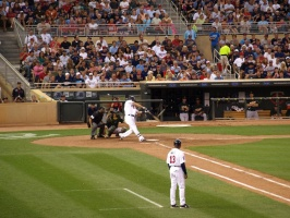 Mauer fouling a pitch off