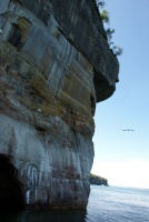 Below the rock cliffs at Pictured Rocks National Lakeshore