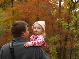 Kaitlyn and Dad walking through the woods