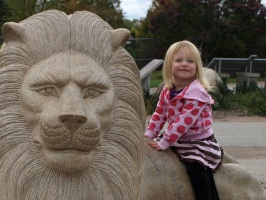 Kaitlyn Riding a Lion 2